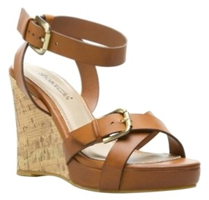 ShoeDazzle Cork Ankle Strap Black Spring Tan Wedges