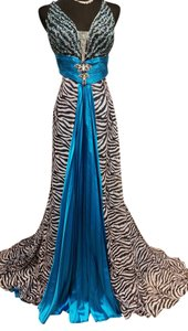 Alyce Designs Turquoise Zebra Long Cocktail Dress