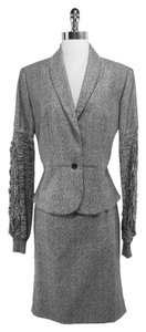 Saint Laurent Grey Tone Skirt Suit Sz 8