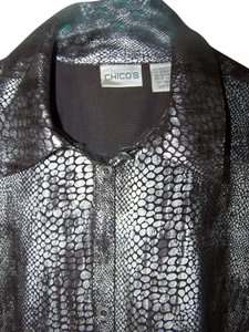 Chico's Button Down Shirt silver