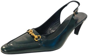 Coach Brass Slingback Lobster Claw New Top Stiching Hunter Green Pumps