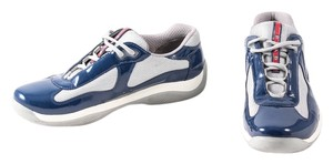 Prada Patent/nylon Sneaker Mens Blue/Silver Athletic