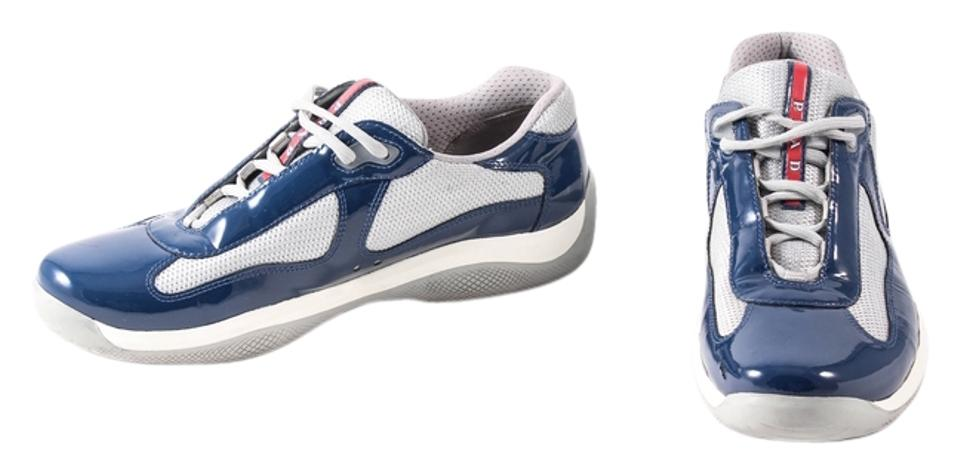 ab380f5d9e5 Prada Multicolor Patent-leather Blue/Silver Sneakers Size US 8.5 Regular  (M, B) 27% off retail