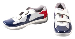 Prada Double-strap Patent/mesh Blue/Silver/Ivory/Red Athletic