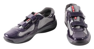 Prada Double Strap Patent/mesh Mens Sneakers Dark Purple/Silver Athletic