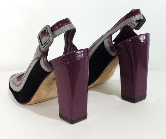 Cole Haan Patent Leather Leather Suede Silver/Black/Purple Pumps
