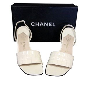 Chanel Cc Lambskin Espadrille Ballet Off White Sandals