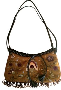Express Boho Chic Beaded Satchel in Tan/Brown/Multi