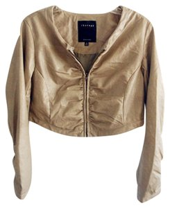Therapy Faux Leather Casual Evening Taupe Leather Jacket