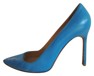 Manolo Blahnik Leather Pointed Stilettos Blue Pumps