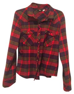 BDG Flannel Urban Outtfitters Blouse Button Down Shirt Red multi