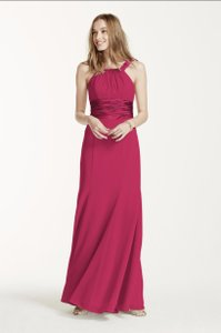 David's Bridal Ballet Pink Chiffon And Charmeuse Dress With Ruched Waist Dress