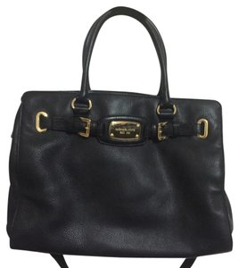 MICHAEL Michael Kors Leather Pebbled Satchel in Black