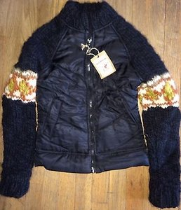 True Religion Jeans Sample Fairisle Sweater Sleeve Jacket Coat