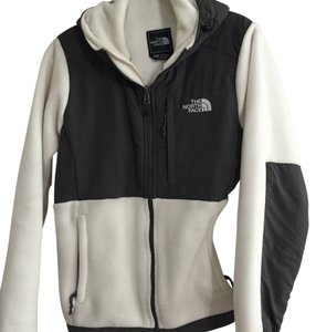 The North Face Hooded Zip Fleece White and gray Jacket