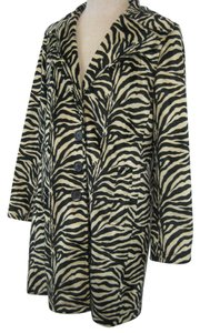Betsey Johnson Faux Fur Zebra Jacket Trench Coat