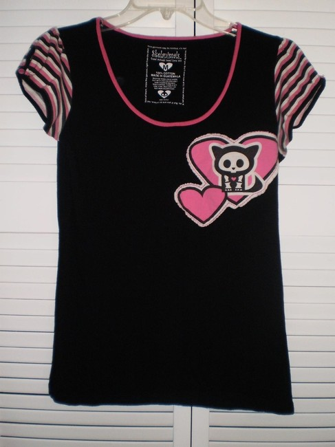 Hot Topic T Shirt Black & pink
