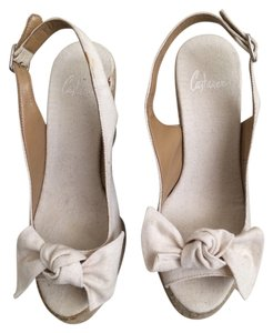 Castañer Espadrille Wedge Peep Toe Cream Wedges