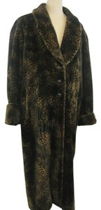 St. John Faux Fur Leopard Soft Fur Coat