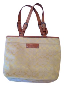 Coach Tote in Yellow with Brown Trim