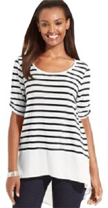 Style & Co Chiffon Striped Hi Lo Hem T Shirt Black and Ivory