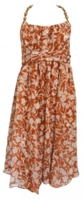 Preload https://img-static.tradesy.com/item/136505/donna-ricco-brown-silk-nwot-and-ivory-floral-print-wood-beads-knee-length-cocktail-dress-size-14-l-0-0-650-650.jpg