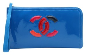 Chanel Dark Blue Patent Leather Clutch