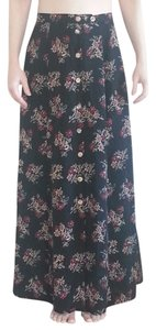 Necessary Objects Long Maxi Skirt Black with Red, Brown, and Cream Colored Floral Pattern