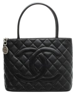 Chanel Black Leather Quilted Tote