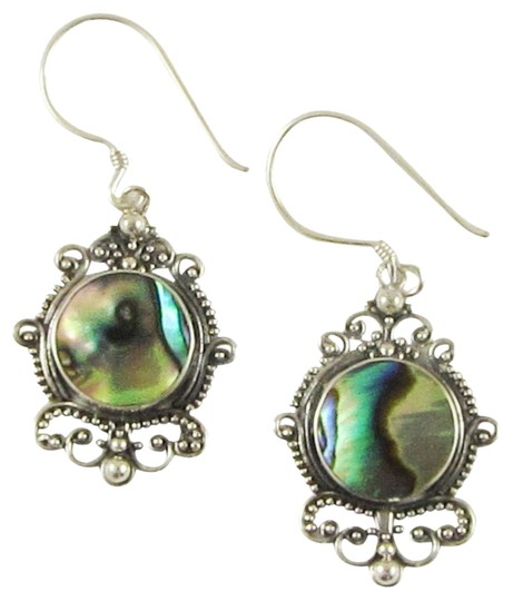 Island Silversmith Island Silversmith Abalone Paua Shell 925 Sterling Silver Button Earrings 0101R *FREE SHIPPING*