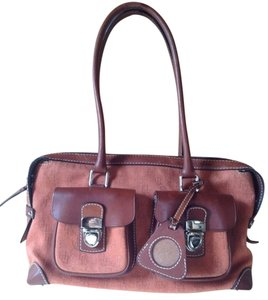Dooney & Bourke & Signature Brown Leather Hobo Satchel in Brick Red