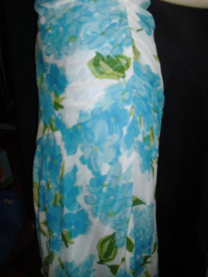 Morrell maxie turquoise silk flowers ruched bias cut hem long casual 12345678 mightylinksfo