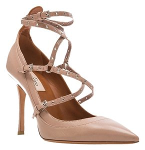 Valentino Love Latch Nude Leather Grommet Straps Beige Pumps