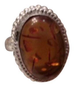 Other New .925 Sterling Silver Amber Gemstone Ring Sz 7