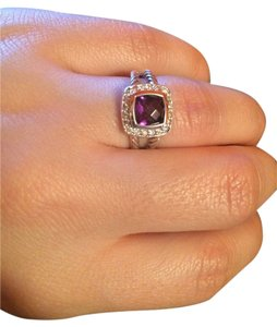 David Yurman David Yurman Petite Albion Ring with 7mm Amethyst and Diamonds