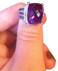 David Yurman Wheaton Ring With 16x12mm Amethyst And Diamonds