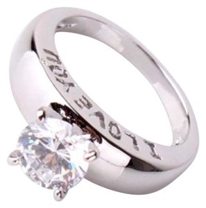 Other New White Topaz I Love You Ring 18K White Gold Filled Promise/Cocktail/Engagement Wedding Ring