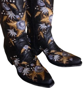 Lane Boots Lane Crystal Studs Cowboy Leather Black Boots