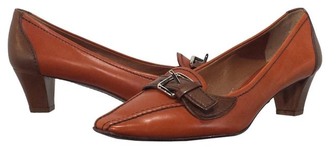 Item - Orange/Brown Leather Low Heels Pumps Size US 8 Narrow (Aa, N)