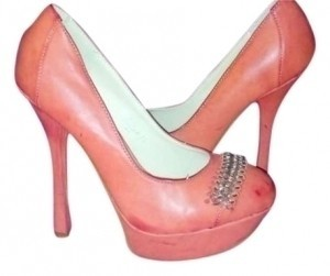 Machi Coral w/ Gold Chain Accent Pumps