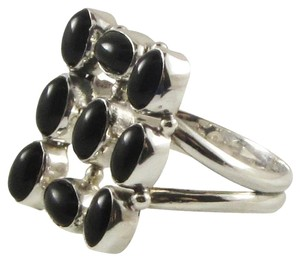 Islland Silversmith Island Silversmith 9 Stone Black Onyx 925 Sterling Silver Ring Sz 10 0101D *FREE SHIPPING*