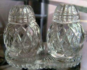 Vintage Glass Salt And Pepper Shakers With Tray