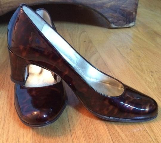 Taryn Rose Tortoise Shell Patent Leather Brown Pumps