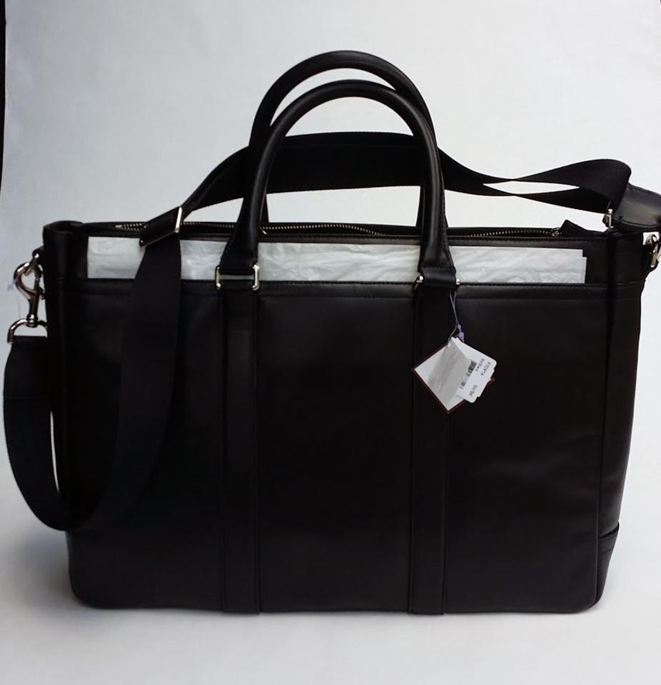 Simple Coach Black Leather Amp Twill Briefcase Laptop Messenger Padded Bag