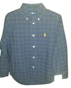 Raph lauren Button Down Shirt Dark: Blue/green
