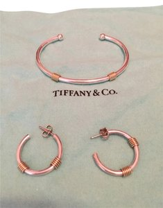 Tiffany & Co. Tiffany Gold And Silver Hoop Earrings And Bracelet
