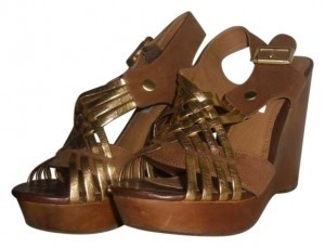 Steve Madden Sandals Tan and Gold Wedges
