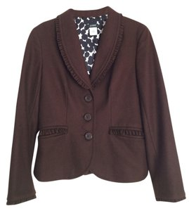 J.Crew Wool Ruffle Silk Brown Blazer
