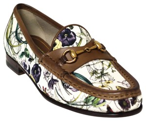 Gucci 309717 Loafer Mini Flora, Brown, White Flats
