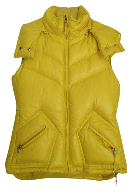 Item - Yellow Shiny Hooded Puffer Vest Size 4 (S)
